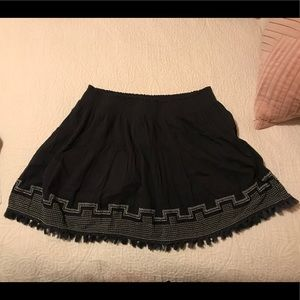 J.Crew Cotton Pleated Embroidered Skirt w/ Tassels